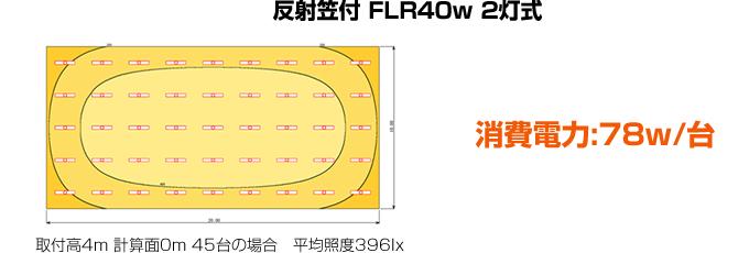 反射笠付 FLR40w 2灯式 消費電力:78w/台