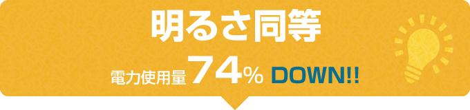 明るさ同等 電力使用量74%DOWN!!